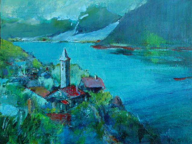 山の絵ー32 スイス ルンゲルン湖...